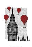 Big Ben and Red Hot Air Balloons Posters by  Fab Funky