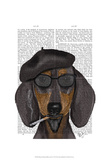 Hipster Dachshund Black and Tan Prints by  Fab Funky