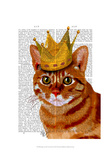 Ginger Cat with Crown Portrai Prints by  Fab Funky