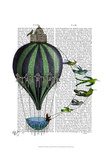 Hot Air Balloon and Birds Prints by  Fab Funky