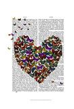Butterfly Heart Print by  Fab Funky