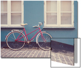 Red Bike in Denmark Kunstdruck von Laura Evans