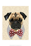 Pug with Red and White Spotty Bow Tie Poster by  Fab Funky