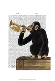 Monkey Playing Trumpet Poster af Fab Funky