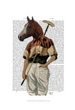 Polo Horse Portrait Print by  Fab Funky