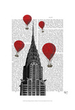 Chrysler Building and Red Hot Air Balloons Print by  Fab Funky