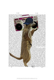 Meerkat with Boom Box Ghetto Blaster Prints by  Fab Funky