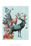 Turquoise Deer in Mushroom Forest Posters by  Fab Funky