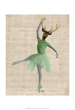 Ballet Deer in Green Print by  Fab Funky