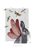 Dragonfly Hare Prints by  Fab Funky