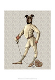 Greyhound Fencer in Cream Full Prints by  Fab Funky