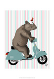 Rhino on Moped Plakater af Fab Funky