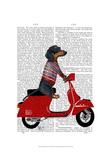 Dachshund on a Moped Art by  Fab Funky