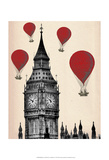 Big Ben and Red Hot Air Balloons Poster by  Fab Funky