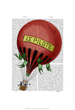 Le Pilote Hot Air Balloon Posters by  Fab Funky