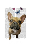 Brown French Bulldog and Butterflies Prints by  Fab Funky