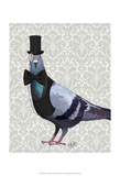 Pigeon in Waistcoat and Top Hat Prints by  Fab Funky