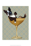 Boston Terrier in Cocktail Glass Prints by  Fab Funky