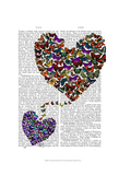 Two Butterfly Hearts Poster by  Fab Funky