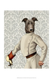 Greyhound Fencer in Cream Portrait Prints by  Fab Funky
