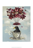 Blackbird In Teacup Prints by  Fab Funky