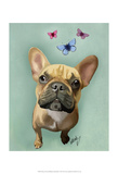Brown French Bulldog and Butterflies Print by  Fab Funky