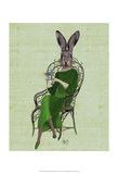 Lady Bella Rabbit Taking Tea Prints by  Fab Funky