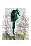 SeaHorse and Sea Urchins Prints by  Fab Funky