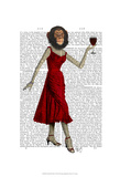 Chimp With Wine Print by  Fab Funky