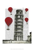 Tower of Pisa and Red Hot Air Balloons Poster by  Fab Funky