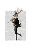 Dancing Deer with Violin Art by  Fab Funky