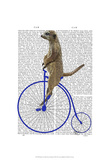 Meerkat On Blue Penny Farthing Prints by  Fab Funky