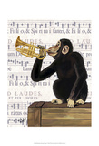 Monkey Playing Trumpet Plakat af Fab Funky