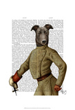 Greyhound Fencer Dark Portrait Art by  Fab Funky