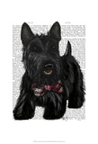 Scottish Terrier and Bow Art by  Fab Funky