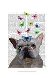 White French Bulldog and Butterflies Prints by  Fab Funky