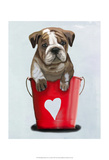 Bulldog Bucket Of Love Red Prints by  Fab Funky