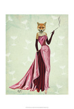 Glamour Fox in Pink Art by  Fab Funky