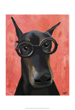 Doberman With Glasses Prints by  Fab Funky