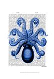 Vintage Blue Octopus 1 Underside Prints by  Fab Funky