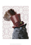 Grey Cat With Steampunk Top Hat Prints by  Fab Funky
