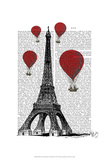 Eiffel Tower and Red Hot Air Balloons Prints by  Fab Funky