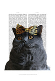 Grey Cat with Leopard Bow Print by  Fab Funky