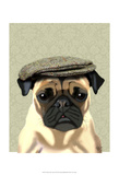 Pug in Flat Cap Prints by  Fab Funky