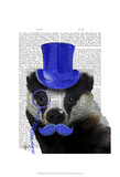 Badger with Blue Top Hat and Moustache Posters by  Fab Funky