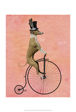 Greyhound on Black Penny Farthing Poster by  Fab Funky