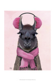 Chilly Llama Pink Poster autor Fab Funky