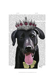 Black Labrador With Tiara Prints by  Fab Funky