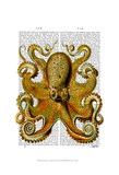 Vintage Yellow Octopus Front Prints by  Fab Funky