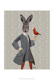 Rabbit And Bird Poster by  Fab Funky